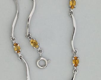 Natural Citrine with Diamond Accent Bracelet 925 Sterling Silver