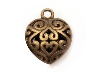 2 Charm bronze baroque heart charm