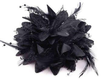 Big flower and black brooch or hair beads