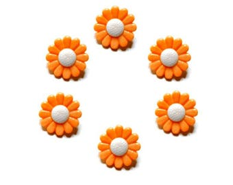 buttons 6 mm white and orange daisy flowers