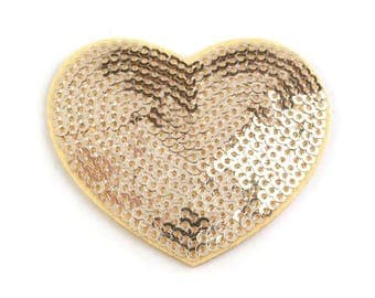 Applied heart sequins 5 cm gold fusible