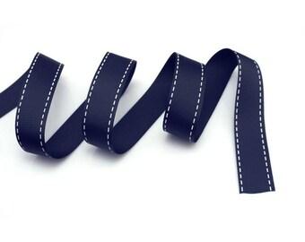 Navy Grosgrain 15 mm blue stitching