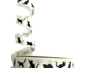 Ribbon silhouette cats 16 mm width: 16 mm