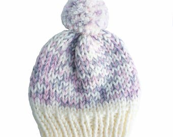Hat, woolly hat, knitted hat, beanie, bobble hat, winter hat, pom pom, chunky wool, pink, white, grey mix