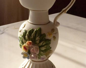 Vintage Royal Crown Vase, Applied Flowers Bisque Vase