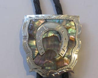 Vintage Sterling  Silver Abalone  Inlay Guad Plata De Jalisco VHLC  Horseshoe Lucky Bolo Tie IC  Lot 20