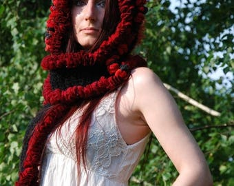 SALE Crochet Hoodie Crocheted Hooded Scarf Pixie Fairy Elven Hippie Bohemian Nymph Dryad Scoodie Pointy Hood Festival Clothing Dreadlock Hat