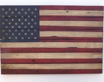 Rustic Wooden American Flag, 24 X 36 inches. Made from recycled fencing. Free Shipping  F