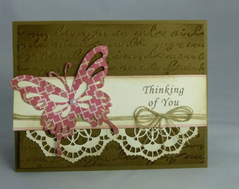 Stampin Up Handmade Greeting Card: Thinking of You, Get Well Sympathy Condolence Condolences You're in My Thoughts Butterfly Brown Man