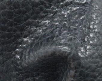 "Dark Kettle Black Leather Cow Hide 4"" x 6"" Pre-cut 5 1/2 oz Large Pebble Grain TA-57847 (Sec. 3,Shelf 6,B,Box 4)"