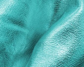 "I Do Robin Egg Blue Metallic ""Vegas"" Leather Cow Hide 12"" x 12"" Pre-cut 3-4oz grainy DE-65426 (Sec. 8,Shelf 4,C)"