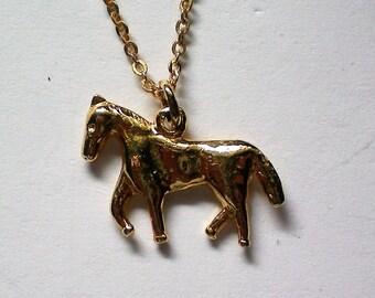 Petite Golden Horse Pendant Necklace - 5496