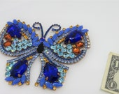 Stunning Huge 10-inch Butterfly Pin Brooch Hatpin Czech Blue Glass Stones