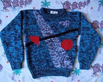 Vintage 80's Abstract Color Block Sweater, size Medium