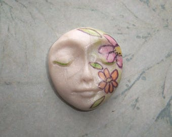 """IN BLOOM Polymer Clay Cabochon,One of a kind,Flat back bead,1 1/8"""" by 1"""",flowers,orange,pink,pearl white,focal bead,no hole,ooak"""