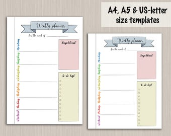 Bullet Journal Printable Weekly Planner Template For Bullet Journal    Digital PDF Bujo Bullet Journal Pages