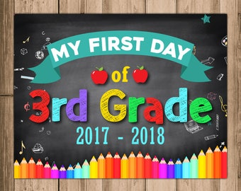 Back to school sign. 3rd Grade Sign. First day of School Signs. First day of 3rd Grade Sign Printable. Chalk Board Sign. School Sign Photo