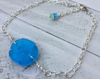 Sand Dollar Anklet Sand Dollar Jewelry Blue Ankle Bracelet Beach Anklet Made in USA Cute Anklet Sterling Silver Anklet Silver Anklet
