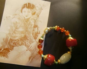 """Singapore"" Asian spirit bracelet, Jade, coral, gold-plated"