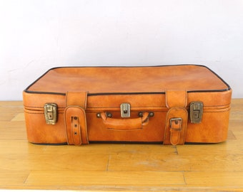 Old Leather Suitcase, Leather Valise, Orange Luggage, Suitcase Table, Travel Trunk, Luggage Bag, Orange Suitcase, Luggage Gift, Valises
