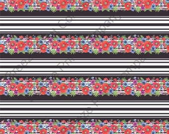 Flower stripes floral craft vinyl sheet - HTV or Adhesive Vinyl -  floral poppy pattern printed vinyl  HTV7807