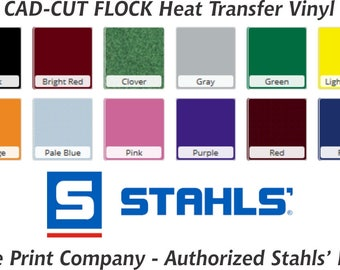 Flock Heat Transfer Vinyl sheet, Stahls' HTV, CAD-CUT, solid colors available, textured vinyl, 12x15 inch sheets, embroidery vinyl