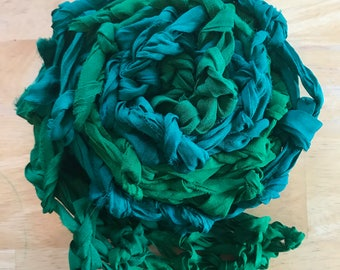 Scarf Chiffon Ribbon Emerald Green Eagles Green Festival Wear Pastel Grunge Soft Nu Goth Upcycled Boho Chic Handknit by The Wild Willows