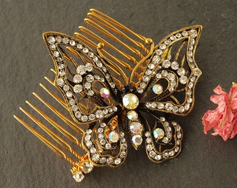 Gold Butterfly Wedding Comb   Diamante Hair Comb   Wedding Hair Accessories    Wedding Comb   Butterfly Bridal Hair Comb   Bridesmaid Comb