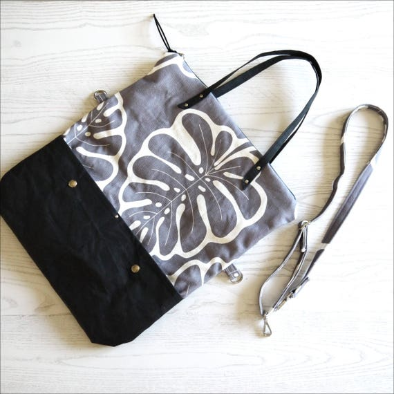 "Bag covertibile ""Monstera"" shopping bag and Messenger, 2 in 1, canvas and SNAPPAP light grey and black, print ""Cactus"""