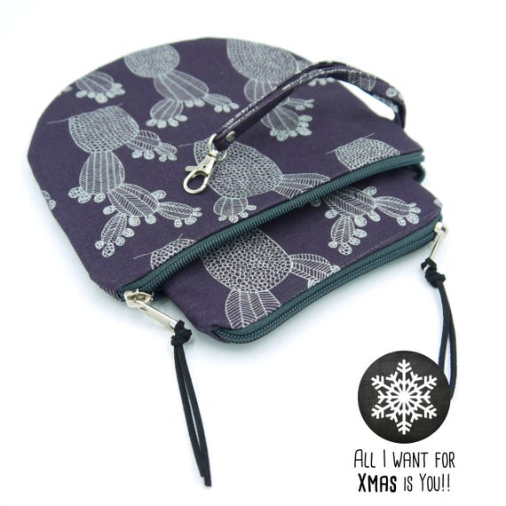 """Pair of dark and white purple pochette """"prickly pears"""" medium + Small-Round pouches, Special Xmas 2017"""