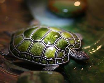 Terrific Turtle Vintage Enamel Popesco Pin