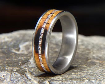 Used Jack Daniel Distillery Whiskey Barrel Wood and Deer Antler Inlay Titanium Wedding Band or Ring