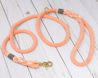 Coral Cotton Rope Dog Leash