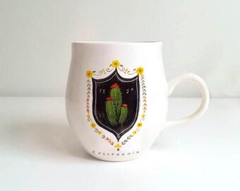 Barrel Cactus Mug, Cactus Mug, Cactus Coffee Mug, Cactus Ceramic Mug