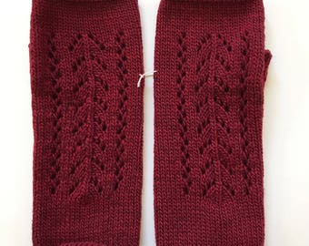 Fingerless Mittens Hand Warmers Wool Fine Gauge in Pointelle Stitch in Cranberry Red