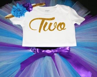 Mermaid Tutu Set,  Birthday Set, Second Birthday, Purple Birthday Tutu, TWO Birthday Tutu Set,  Second Birthday Tutu Outfit, 2nd bday set