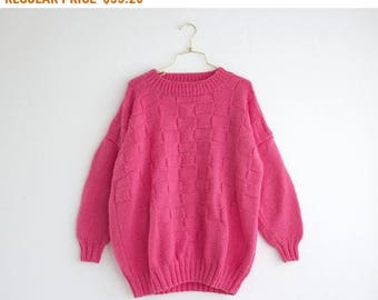 Hand Knit Sweater, Vintage Oversized Sweater, Bubblegum Pink 80s Sweater, Warm Sweater Size Medium Large