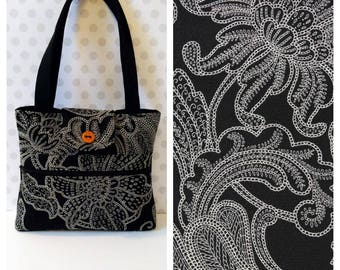 Black Floral Shoulder Bag /Small  Purse / Magnetic Snap Closure