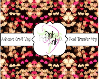 Valentine's Printed Vinyl, Heart Patterned Adhesive Vinyl and Heat Transfer Vinyl in pattern 1019
