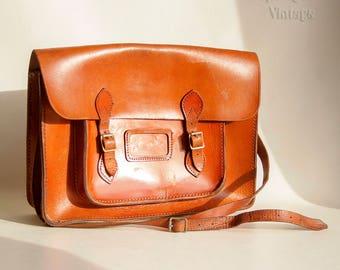 Vintage 1950s/60s Salisbury's Tan Cowhide Leather School Satchel