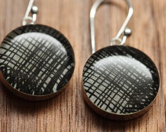 Black and White stripe earrings made from recycled Starbucks gift cards. sterling silver and resin.