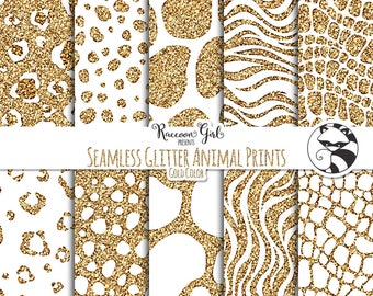 Seamless Glitter Animal Prints in Gold Digital Paper Set - Personal & Commercial Use