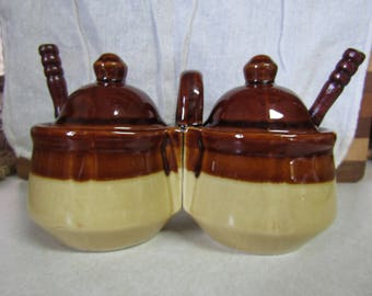 Vintage Double Condiment Server Crock Pottery with Spoons - Houston Foods - stoneware, brownware