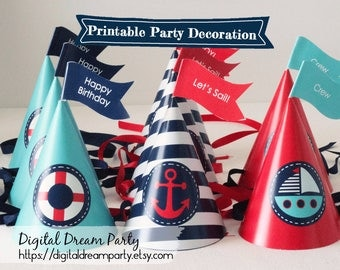 Nautical Party Hat Printable Editable Toppers Birthday Party Cone Navy Red Seafoam Blue Baby Shower Sailor Sailboat Anchor Lifesaver ddp0001