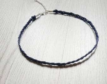 Navy blue choker necklace - navy & silver choker - minimalist necklace - ooak - modern necklace - simple choker