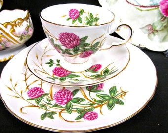 Tuscan tea cup and saucer trio FOUR LEAF CLOVER pattern floral teacup painted design
