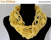 ON SALE Cowl Scarf - Mobius Infinity Scarf, Chunky Scarf, Crochet Scarf, Yellow Scarf, Chain Stitch Scarf, Handmade Scarf, Gift for Her