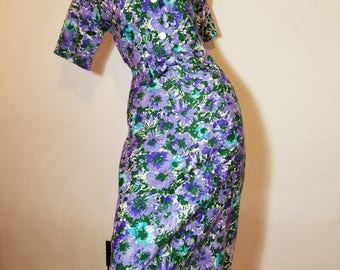 FREE  SHIPPING  1950 Floral  Cootn  Sheath  Dress