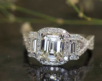 3-Stone Emerald Halo Engagement Ring in 14k Gold, 1.75ct Forever One Emerald Cut Moissanite, 0.98ctw E-F Color VS Clarity Diamonds, Helene