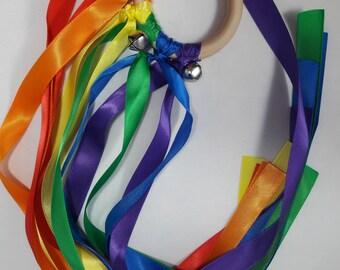 Rainbow ribbon Hand Kite; Color run; rainbow party favor; color run ribbon;
